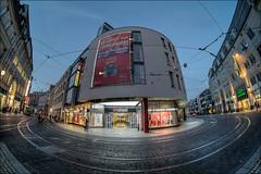 Stadtcenter Rolltreppe (p h o t o . w o r l d s) Tags: hallesaale sachsenanhalt deutschland fischauge fisheye hdr photomatix tonemapping fujixt10 7artisans75mm28 photoworlds