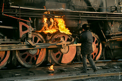 Work preparation... (N.Batkhurel) Tags: locomotive steam steamlocomotive fire work worker railway railfan china sandaoling season winter xinjiang trainspotting train tourism transport ngc nikon nikondf mining coalmine