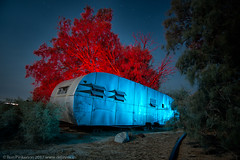 Shady Acres (dejavue.us) Tags: lightpainting longexposure junkyard abandoned nikon desert d800 180350mmf3545 vle trailer fullmoon pearsonville mojavedesert nikkor nightphotography california