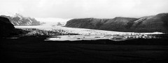 Glaciers, Iceland, xpan (Fabio Stoll) Tags: analog black white fomapan action 400 self developed ishootfilm filmisnotdeat einfarbig hasselblad xpan ii outdoor camping landschaft abhang feld fotorahmen breitformat iceland geisir drive roadtrip nature moody fomatol lqn wasser himmel haifoss foss glacier