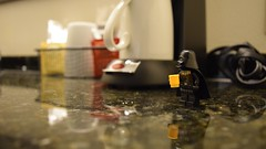 Vader's Day Off (RagingPhotography) Tags: lego star wars imperial galactic empire darth vader villain villainy day off coffee counter kitchen cup break rest plastic minifigure minifig figure toy toys photographic calm ragingphotography