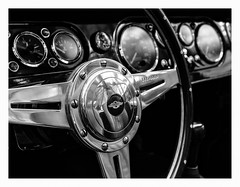 Morgan (dirkbreisch) Tags: wood reflection morgan schwarzweiss dashbord round blacknwhite lecerra contrast chrome monochrome classiccars cars museum classic classicremise düsseldorf