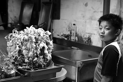 The Man and His Fried Squid (superzookeeper) Tags: formosa 5dmk4 5dmkiv canoneos5dmarkiv ef2470mmf28liiusm eos digital taiwan pingxi blackandwhite bnw monochrome tw friedsquid children kids hungrykids streetfood oldtownpingxi people favorites squid over1000views calamari street food