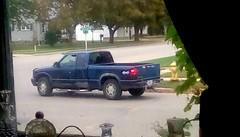 Blue pickup truck - HTT 364/4 (Maenette1) Tags: pickuptruck blue corner neighborhood window menominee uppermichigan happytruckthursday flicker365 michiganfavorites