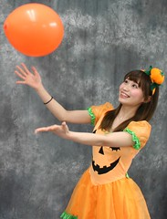 Now You're Really Gonna Catch (emotiroi auranaut) Tags: girl woman lady beauty cute adorable beautiful halloween balloon happy happiness laugh laughter laughing giggle giggles dress orange catch catching fun joy joyful