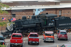 K-36 loco flies flags as it hauls train back into Durango on Labor Day R1003930Durango & Silverton RR (Recliner) Tags: baldwin dsng drg
