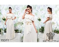 Легкое женское летнее платье в пол с воланом и открытыми плечами без бретелей под пояс молочное (arrkareeta) Tags: