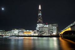 Silence is the master of darkness (OR_U) Tags: 2017 oru uk england london riverthames theshard river night nightphotography willienelson longexposure city lights buildings bridge reflections smooth moon scyscraper londonbridge