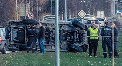 Car stumbled in the curbstone (John Christian Fjellestad) Tags: norway autumn problem safety road accident security fail car emergency unexpected weird fall blunder traffic strange ulykke forsikring
