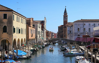 The main waterstreet in the heart of the island of Chioggia