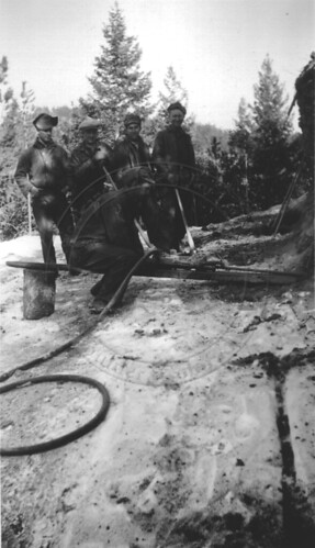 Photo - CCC workers at Chapman Drive with a rock drill (1933-1935).