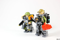 """Military Trooper X58 """"The Maintainer"""" and X59 (Devid VII) Tags: military crew x58 maintainer devid vii mecha moc mech war troopers olive devidvii lego t"""