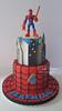 Spiderman for Jeremiah (Cake Diane) Tags: spiderman birthday cake fondant toy cityscape web boy child superhero tiered icing smiles