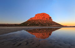 Sunrise at Elands Bay (Luc Stadnik) Tags: elandsbay westcape reflection southafrica sunrise glow red bluesky africa rock