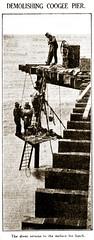 "7 Feb 1934 - ""DEMOLISHING COOGEE PIER."", Sydney, New South Wales, Australia (restored version)"