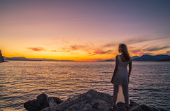 When the sun is gone (Vagelis Pikoulas) Tags: woman girl portrait beauty beautiful white canon 6d tokina 2470mm view sea seascape landscape alepochori greece sky dusk sunset psatha rocks colors autumn 2017 october