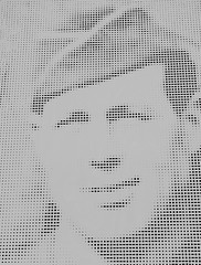 The Dot Matrix Soldier (Steve Taylor (Photography)) Tags: dotmatrix soldier us art design graphic museum monochrome blackandwhite monotone paper man uk gb england greatbritain unitedkingdom shape spot hallplace face portrait