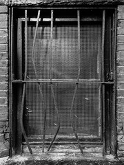 Barred Window (Broot - Thanks for 3/4 million views!!) Tags: window barred boston backbay publicalley alley decrepit bent monochrome bw blackandwhite 2017