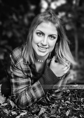 Anna (Jenny Onsager) Tags: senior seniorpics portrait blackandwhite leaves fall bushes eyes teen teengirls highschool