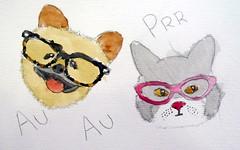 Little friends, by Amanda - DSC02185 (Dona Minúcia) Tags: art painting watercolor study paper littlefriends dog cat glasses arte cute pintura aquarela amiguinhos cão cachorro gato óculos gracinha fofo
