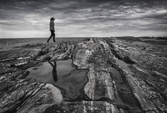 shore exploring (gnarlydog) Tags: graniteisland foreshore sea sweden landscape seascape dramatic puddle reflection walking exploring lichen rocks beach monochrome blackandwhite bw