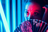Blue Rose (Jon Siegel) Tags: nikon d810 modeling modelshoot beautiful woman fan chinatown people cinematography wongkarwai neon night evening chinese singapore singaporean sigma 50mm 14 sigma50mmf14art sigma50mmf14