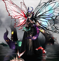 Madama Butterfly . (Venus Germanotta) Tags: secondlife fashion fierce sickening aiitheuglyandbeautiful fallengods demon demoness moth butterfly queen underworld hell inferno bayonetta witch umbrawitch magic power pact horns wings water swamp evil photoshop photography lighting perspective blog blogger blogpost blogging colors vibrant light dark ominous beautiful ethereal fog edit odd avantgarde highfashion hautecouture couture fashionista graphicdesign design glow shine shimmer reflection mother goddess contract videogame inspired model pose slay style chic creature monsters birth fantasy fantasea scifi fiction digitalart virtual reality roleplay