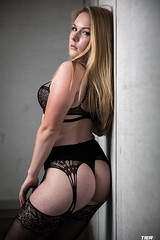 Abandoned Office (Tier6Media) Tags: lingerie boudoir hot sexy black thong pantyhose blonde fit booty squats model boudoirmodel abandoned office