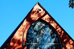 Church window (Noel C. Hankamer) Tags: graceepiscopalchurch church window stone spire religious blue sky shade shadows glass negativespace minimalism
