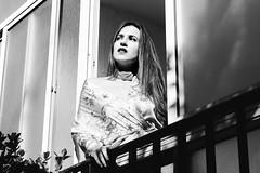 Melancholia (Affaire Photography) Tags: canon canon70d retrato portrait melacolía melancholia elmomentoantesdelatristeza momento tristeza blancoynegro bn photography retouch retoque blackandwhite bw exterior ventana window balcón kimono choker