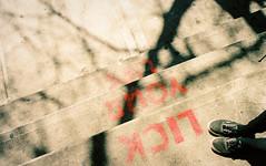 Lick Your Lips (Past Our Means) Tags: newyorkcity vintage art graffiti canon ae1 kodak kodakfilm 35mm travel analog analogue wanderlust indiefilmlab indie indiefilm portra 800 new york filmisnotdead filmphotography istillshootfilm 28mm adventures lower east side st marks street papaya king hot dogs lick your lips vans shadow shadows
