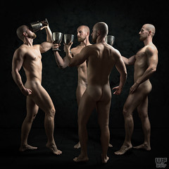 Primus inter pares (WF portraits) Tags: svk model man male studio photoshop composite naked nude muscular beard gym fitness cup chalice election black
