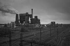second shift (jkatanowski) Tags: industry industrial steam tracks clouds bw coke canon sigma 1835mm