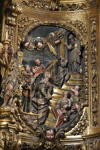 Cadaqués. Parish Church. Presentation of Mary in the Temple. Relief of the altarpiece dedicated to the Virgin Mary. Carved 1723-1729. Gilded 1770-1788. Joan Torras and Pau Costa, sculptors