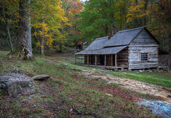"The Noah ""Bud"" Ogle Place (donnieking1811) Tags: tennessee gatlinburg greatsmokeymountainsnationalpark cabin logcabin trees autumn fallcolors hdr canon 60d lightroom photomatixpro golddragon"