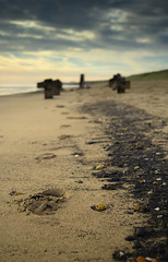 Footprints (Benjamin Driver) Tags: hartlepool beach sand sky cloud depth field shallow scape landscape footprint foot sigma canon filter grad ndgradfilter nd colour clouds quiet early sea coal lee 18 1835 north east england