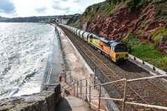 Cement (Teignstu) Tags: dawlish devon seawall railway colas class70 70810 cement freight