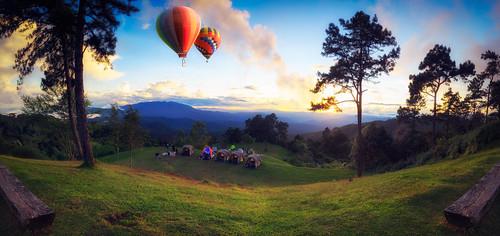 Beautiful sunset nature background Mountains and sky, huai nam d