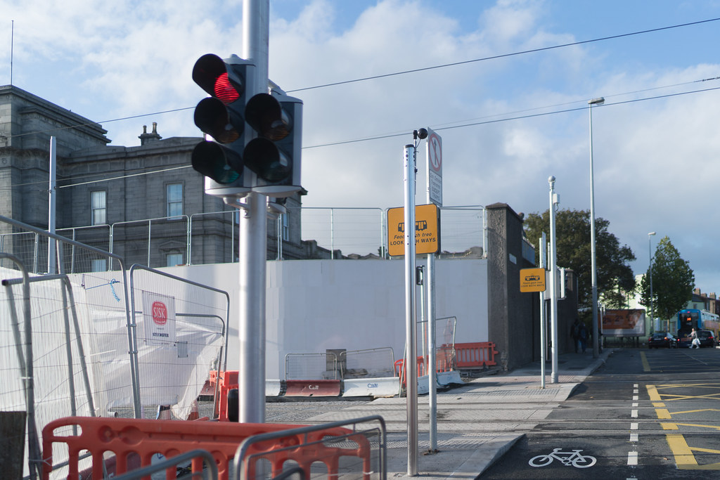 CONSTRUCTION STILL UNDERWAY AT THE BROADSTONE TRAM STOP [THE SCENE IS SOMEWHAT COMPLICATED]-133007