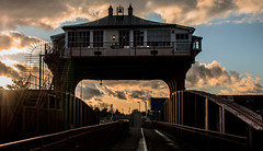Wilmington Swing Bridge (SydPix) Tags: wilmington bridge swingbridge hull riverhull crossing railway disused cabin timber iron sunset evening silhouette glint reflection clouds sydyoung sydpix