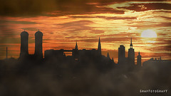 Munich Sunrise (Brigitte Graf) Tags: sonnenaufgang sunrise sky munich münchen skyline sun morning silhouette city stadt orange gelb sonne nebel fog art artwork dawn daybreak light licht morgendämmerung panorama gegenlicht