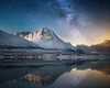 A peaceful night (simonweb_photo) Tags: norway sky reflections canon dark light fjord stars mountains snow nieve neige rock align nightscape milky way landscape photography houses