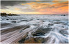 Fisherman On The Rocks (Steven Peachey) Tags: sunset sky clouds sun sea beach seaham ef1740mmf4l canon5dmarkiv canon graduatedndfilter lee09gnd stevenpeachey lightroom northeastcoast rocks fisherman