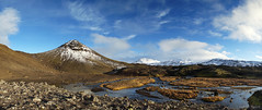 Halfway to heaven from here (OR_U) Tags: 2017 oru iceland southernregion landmannalaugar f210 landscape river hills panorama autumn volcanic sky mountains snow sunshine green white blue
