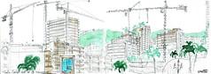 Monte Carlo, de la terrasse du Café de Paris (Croctoo) Tags: croctoo croctoofr croquis crayon aquarelle watercolor montecarlo grues ville monaco