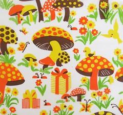 Vintage Cleo Mushroom Paper - 1970s (hmdavid) Tags: vintage wrapping paper gift wrap midcentury art illustration design mushroom mushrooms birds presents flowers 1970s tissue