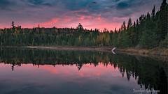 AU SOLEIL COUCHANT (jocelyn.galipeau) Tags: lac lake water eau coucher de soleil sunset réflections couleurs colors nature forêt forest paysage landscape québec canada