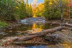 Nonesuch Falls (Daniel000000) Tags: upper peninsula mi michigan pure waterfall nature up landscape north northwoods fall autumn colors leaves yellow light nikon water hiking sunlight tree art park sun trees river old orange