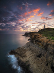 Santander (Ramón M. Covelo) Tags: santander cantabria spain faro lighthouse cabo mayor paisaje landscape vertical amanecer sunrise cliffs acantilados coast costa
