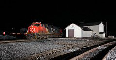 By now the bars are closed (GLC 392) Tags: switch stand trout lake big foot store flash flashes night time 0dark thirty cn canadian national railroad railway train emd sd70m2 es44ac gevo swing set manistique depot l550 2927 8856 morning light mi michigan upper peninsula